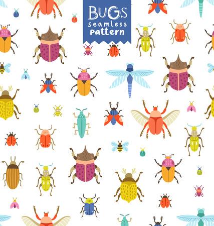 Fun colorful bugs seamless pattern