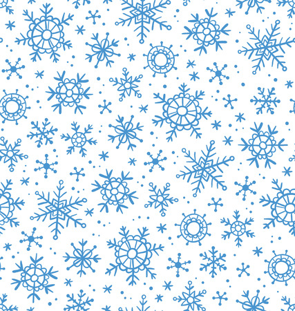 snow crystals: Winter motives, snowflakes seamless pattern