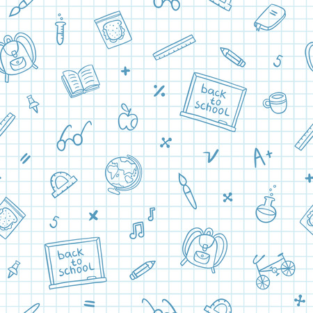 School doodle pattern on a notebook paper Vector