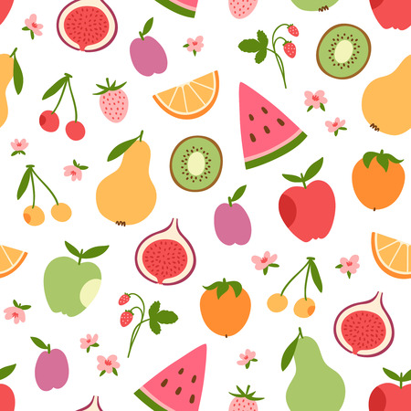 Stylized flat fruits, berries and pink flowers seamless pattern