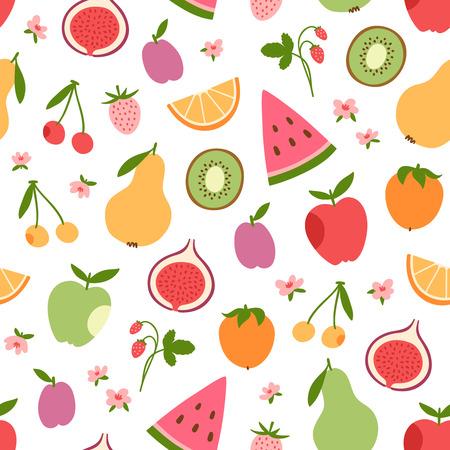Gestileerde platte vruchten, bessen en roze bloemen naadloze patroon Stock Illustratie