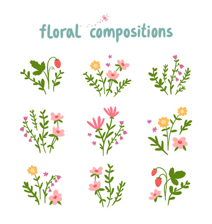 Decorative floral compositions vector collection Vector