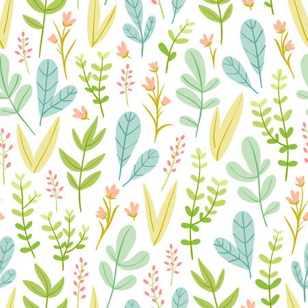 naive: Beautiful pastel floral seamless pattern