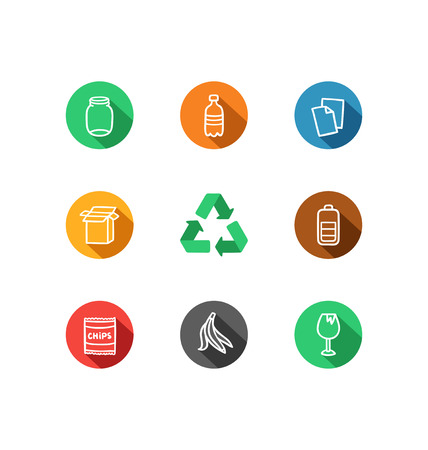 categories: 9 recycling materials icons collection
