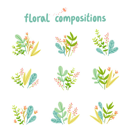 Flowers and leaves compositions collection