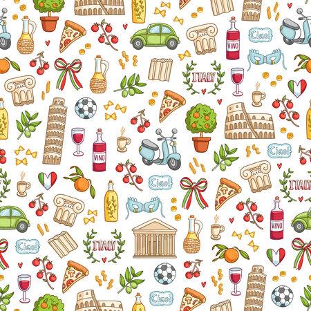 venice italy: Italian style seamless pattern background  Illustration