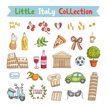 Little Italy collection of italian things Vector
