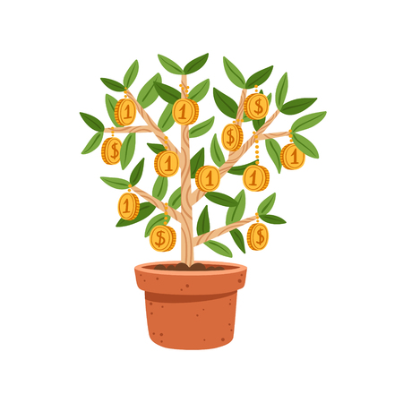 Business illustration of money tree in the pot Illustration