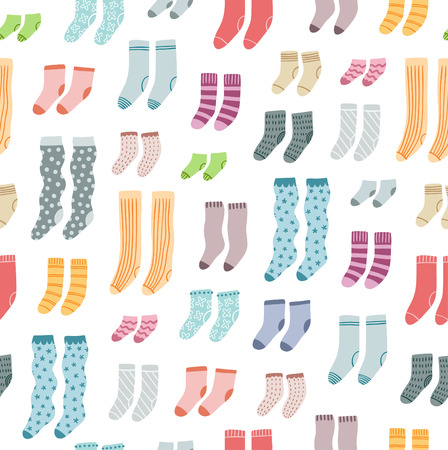 Colorful socks collection fun seamless pattern
