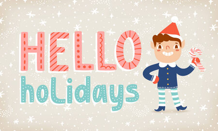 Happy elf with lollipop candy and hello holidays text, vector illustration Vector