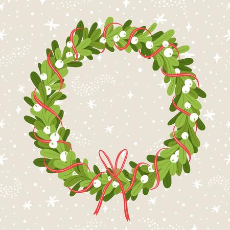 Decorative christmas mistletoe wreath on stardust seamless pattern Vector Illustration