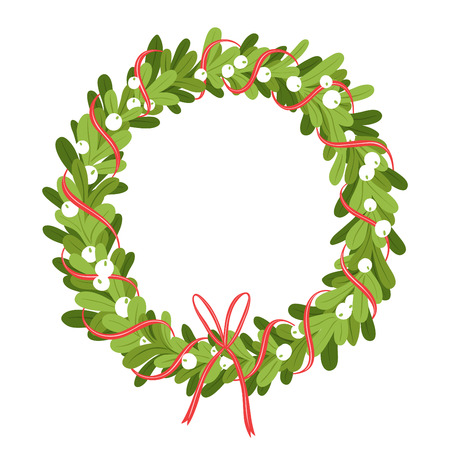 christmas wreath: Mistletoe wreath isolated on white