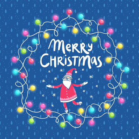 christmas seamless pattern: Christmas lights and Santa greeting card on abstract seamless pattern background