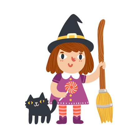 Little witch and her cat halloween cartoon characters, vector illustration Vector