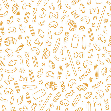 Different types of pasta outlined seamless pattern background