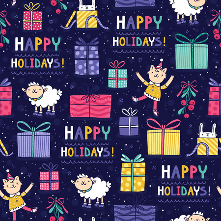 Happy holidays fun seamless pattern on blue background Vector