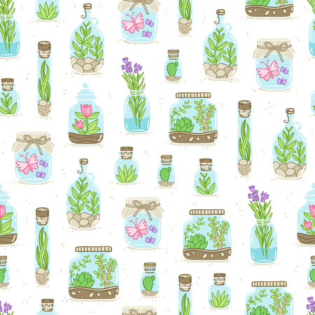 terrarium: Terrariums on white background, vector seamless pattern