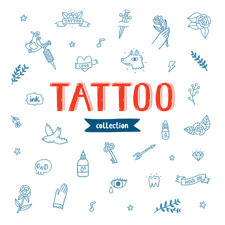 music machine: Vector collection of various tattoo flashes
