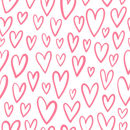 doodled: Hand drawn doodled hearts seamless pattern