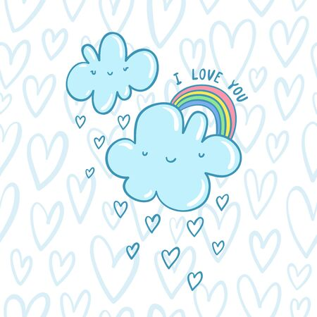I love you blue valentine clouds with hearts and rainbow on a seamless hearts pattern Vector