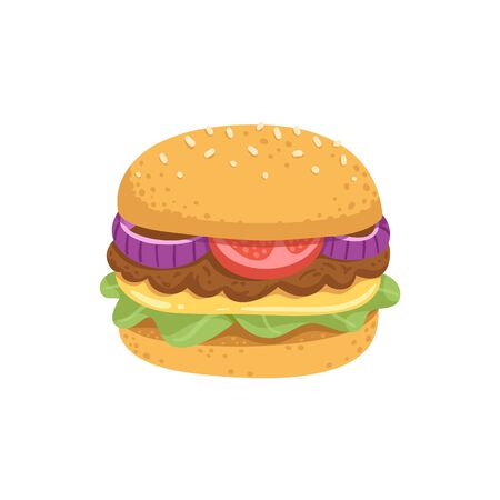 Big juicy burger with fresh vegetables and vegetable or meat cutlet Vector