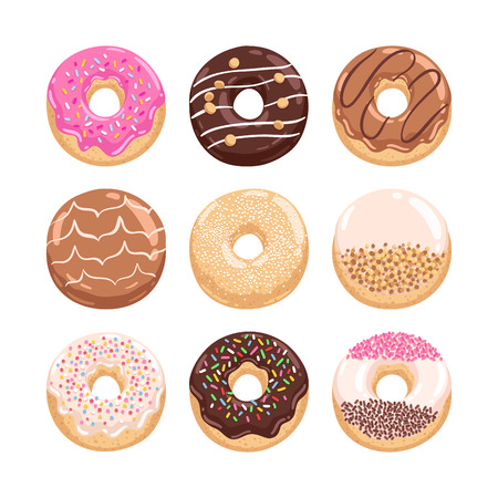 yummy: Yummy donuts collection vector illustration part 1 Illustration