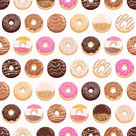 junk food fast food: Yummy donuts seamless pattern Illustration