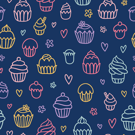 cupcake background: Cupcakes outlined colorful seamless pattern on blue background