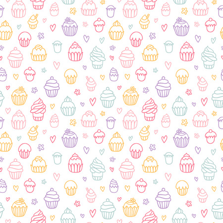 outlined: Cupcakes outlined colorful seamless pattern on white background