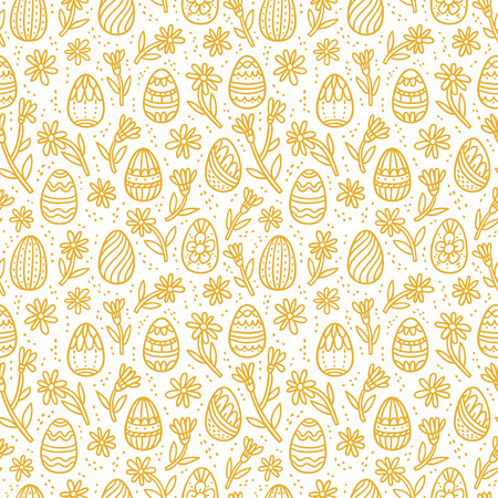 gold eggs: Decorative Easter gold eggs seamless pattern