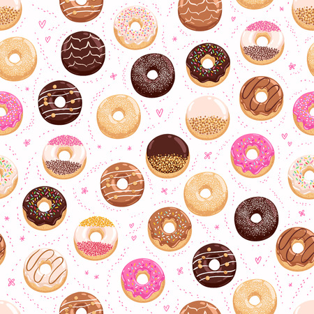 Donuts and little hearts seamless pattern