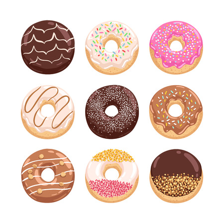 sprinkling: Yummy donuts collection vector illustration part 2