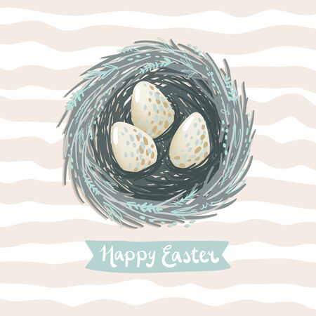 animal nest: Easter greeting card vector illustration with little bird nest and a few eggs Illustration