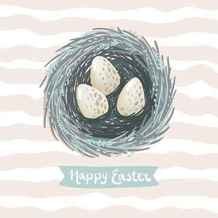 nido de pajaros: Pascua ilustración tarjeta de felicitación del vector con el pequeño nido de aves y algunos huevos