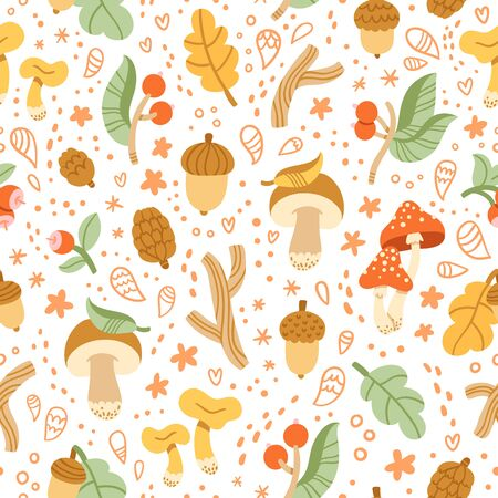 grebe: Colorful autumn treasures seamless pattern with mushrooms, sticks, acorns and other nature treasures Illustration