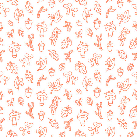 Autumn forest seamless pattern with mushrooms, sticks, acorns and other nature treasures Illustration