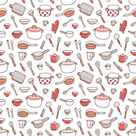 Keukengerei en kookgerei kleurrijke en leuke krabbel naadloos patroon