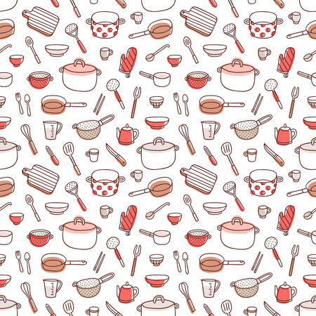 measuring spoon: Kitchenware and cooking utensils colorful and fun doodle seamless pattern