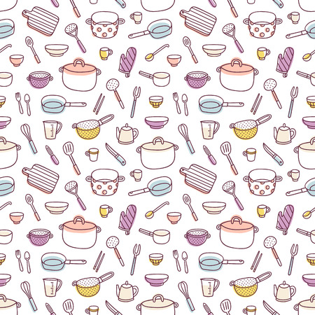 cooking utensils: Kitchenware and cooking utensils colorful and fun doodle seamless pattern
