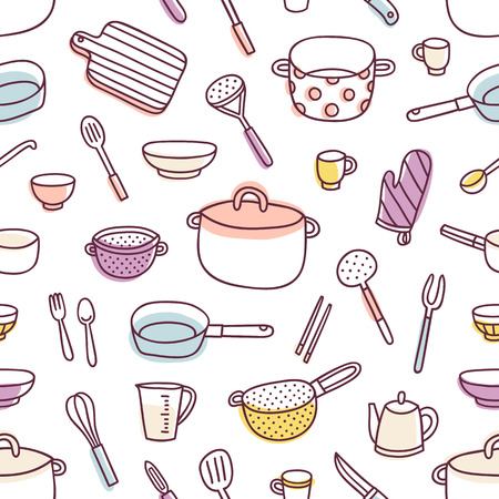 ustensiles de cuisine: Ustensiles de cuisine et ustensiles de cuisine color�e et fun doodle pattern Illustration