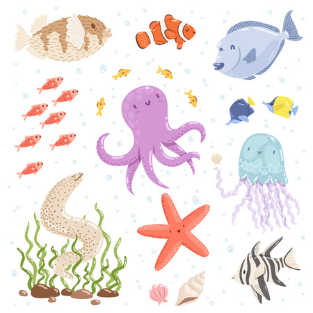 moray: Marine life cartoon characters vector collection Illustration