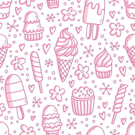 sprinkling: Pink ice cream seamless pattern