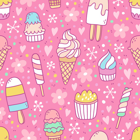 Yummy ice cream on pink background seamless pattern