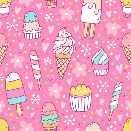 Yummy ijs op roze achtergrond naadloze patroon
