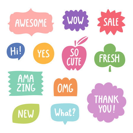 Colorful hand drawn phrases vector collection Illustration