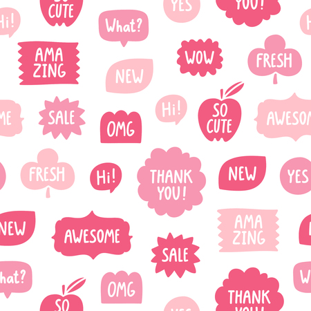 phrases: Pink color phrases seamless pattern on white background Illustration