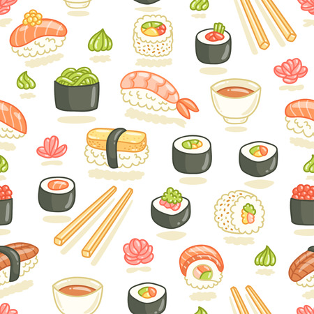 japanese cuisine: Sushi and rolls seamless pattern