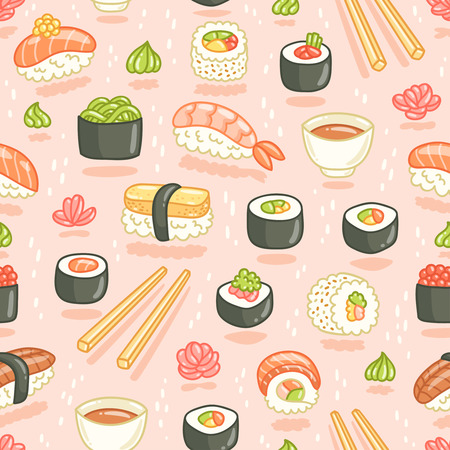 Sushi and rolls seamless pattern on pink background Vettoriali