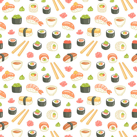 Sushi and rolls seamless pattern on white background