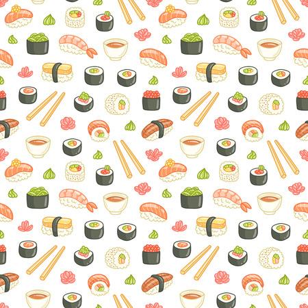 Sushi en rollen naadloos patroon op witte achtergrond Stock Illustratie